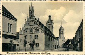 Ansichtskarte Fürstenwalde Straße, Geschäfte - Rathaus 1932