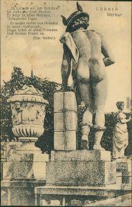 Ansichtskarte Lübeck Brückenfigur - Merkur 1925
