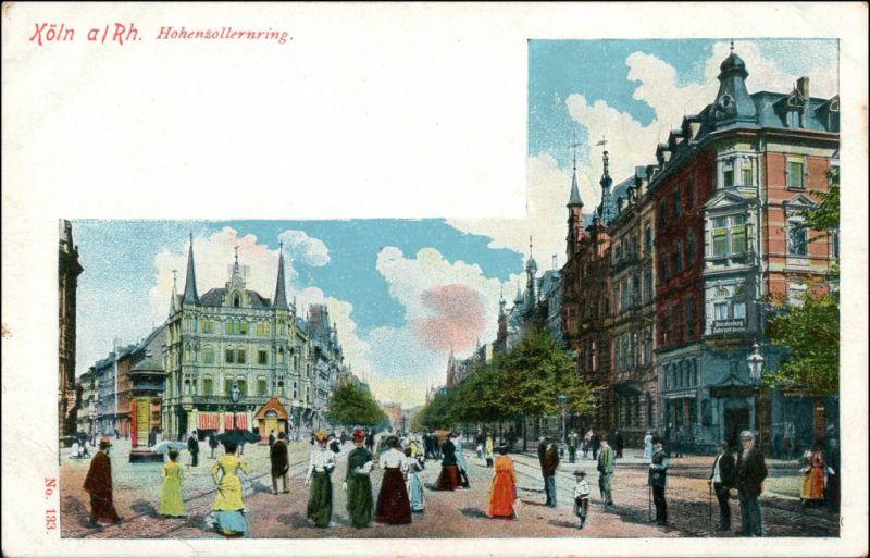 Ansichtskarte Köln belebter Hohenzollernring 1906