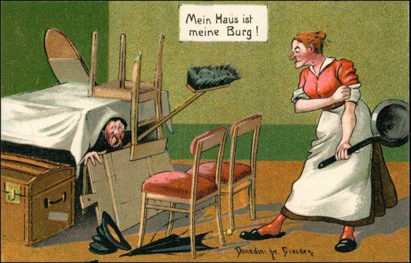 Mein Haus ist meine Burg Donadini Dresden Scherz Künstlerkarte 1920