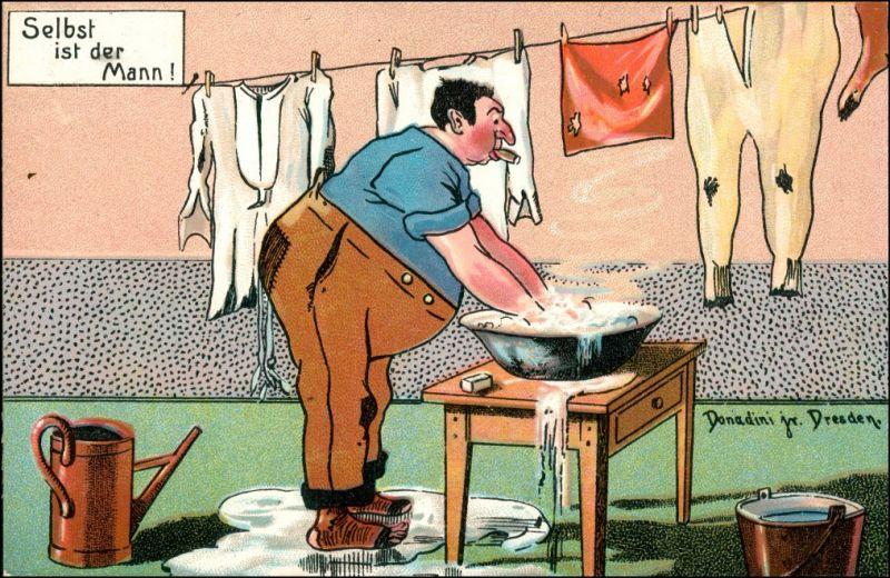 Mann Wäsche waschen Donadini Dresden Scherz Künstlerkarte 1920