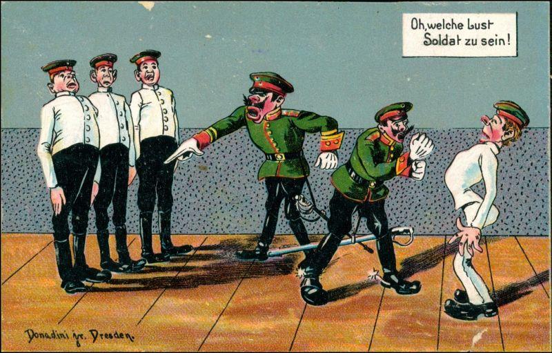 OH welche Lust Soldat zu sein Donadini Dresden Scherz Künstlerkarte 1920