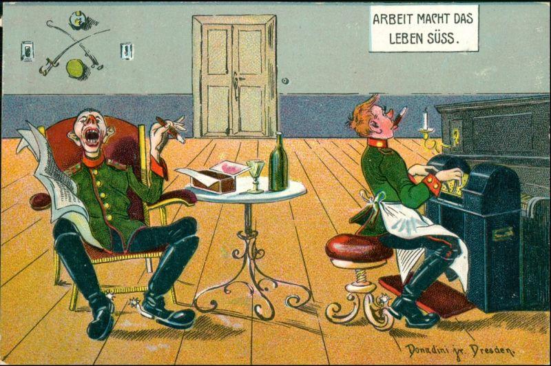 Ansichtskarte  Soldaten Klavier Donadini Dresden Scherz Künstlerkarte 1920