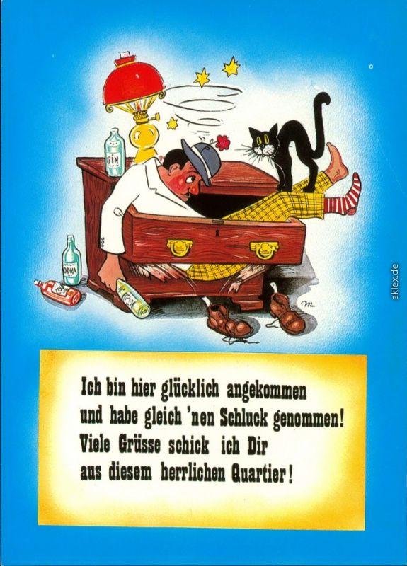 Humor - Spruchkarte: betrunkener Mann mit Katze in Kommodenschublade 1995