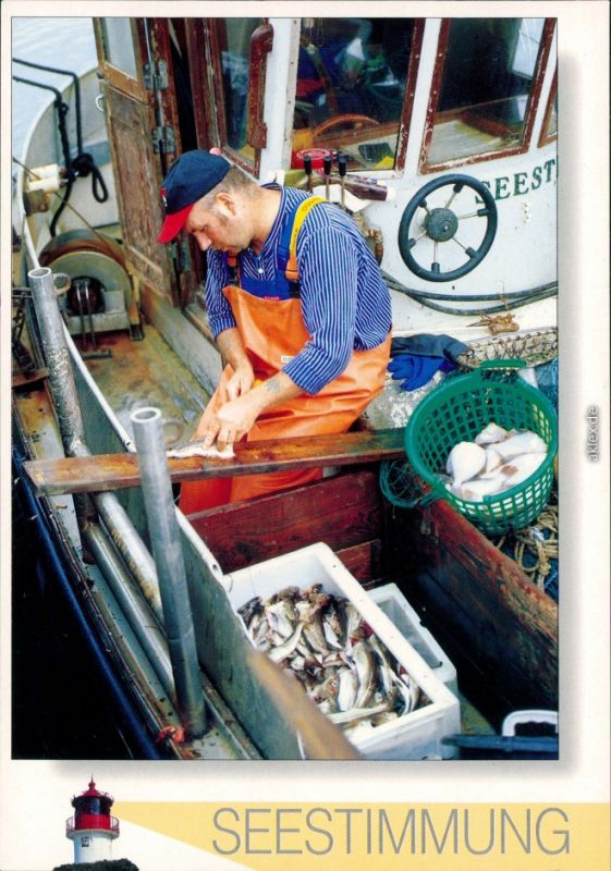 Ansichtskarte  Seestimmung - Fischer auf dem Kutter 1995