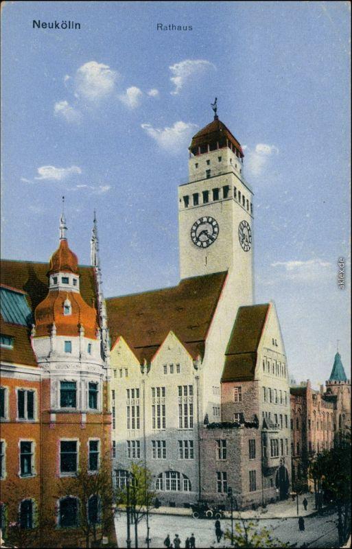 Ansichtskarte Neukölln-Berlin bis 1912 Rixdorf Straßenpartie - Rathaus 1914