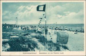 Ansichtskarte Schönberg (Holstein) Strandleben vor der Pension Luck 1929