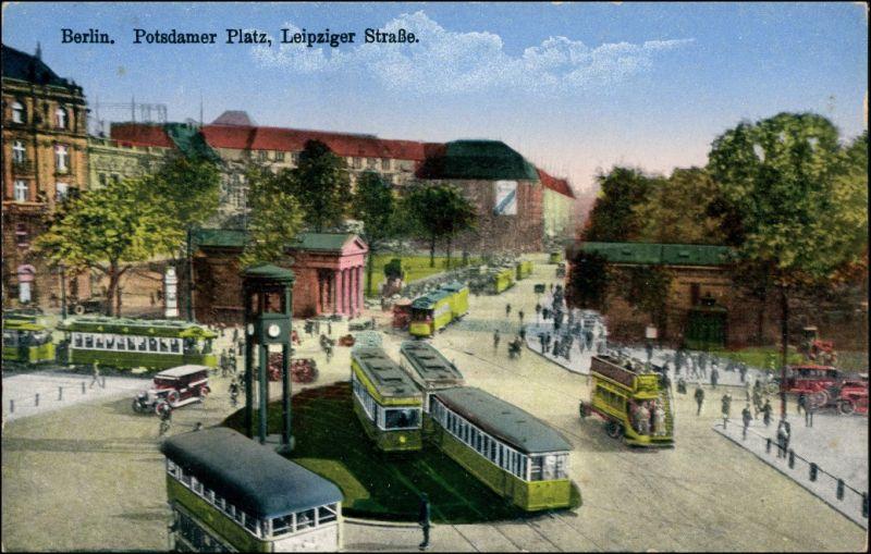 Berlin Potsdamer Platz, Leipziger Straße - Straßenbahn und Bus 1914