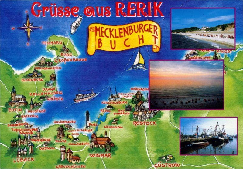 Ansichtskarte Rerik Landkarten-Ansichtskarte, Strand, Hafen 1995 0