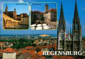 Ansichtskarte Regensburg Steinerne Brücke, Kohlenmarkt, Dom 1999