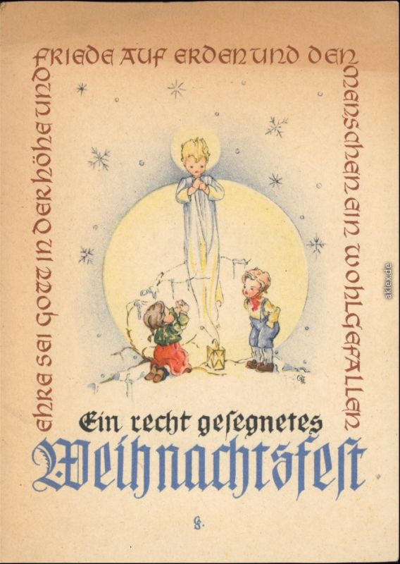 Ansichtskarte  Weihnachten - Friede auf Erden 1949