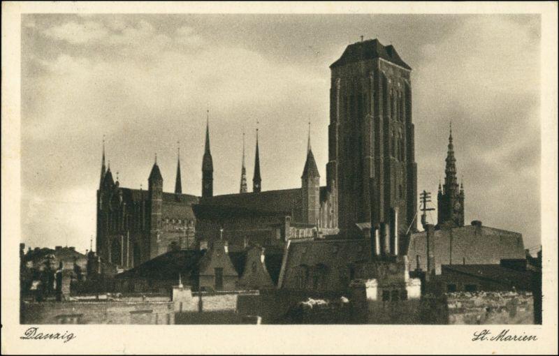 Postcard Danzig Gdańsk/Gduńsk St. Marienkirche 1941