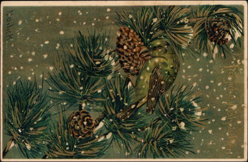 Weihnachten - Vogel Tannenzweig - Mailick Künstlerkarte 1911 Goldrand