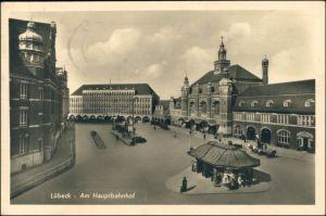 Ansichtskarte Lübeck am Hauptbahnhof 1944