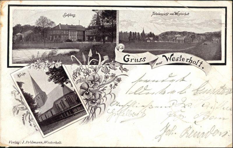 Westerholt-Herten (Westfalen) 3 BIld: Schloss, Stadt, Kirche 1900