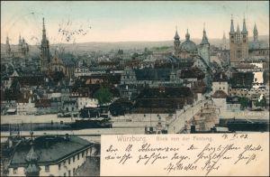 Ansichtskarte Würzburg Blick von der Festung auf die Stadt 1903