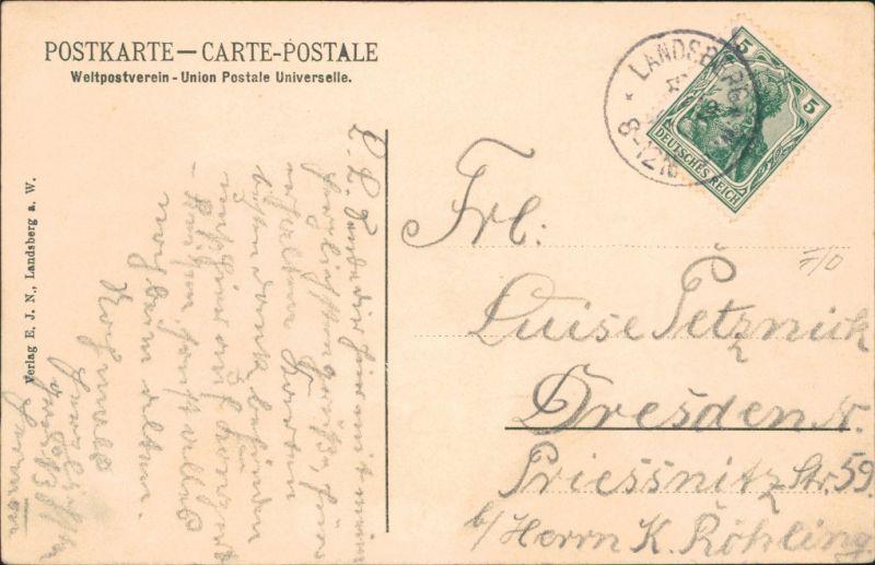 Landsberg (Warthe) Gorzów Wielkopolski Straße, östlicher Teil  Marienturm 1911 1