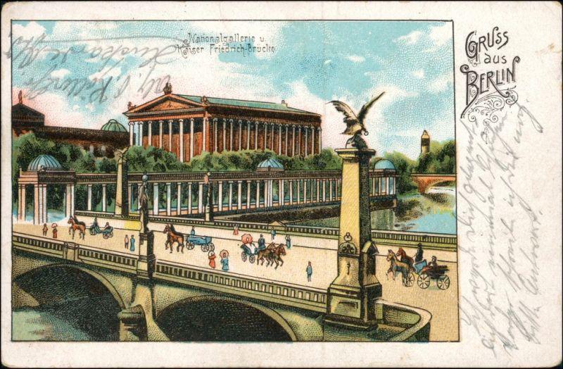 Ansichtskarte Berlin Nationalgalerie, Brücke - Gruss aus 1908