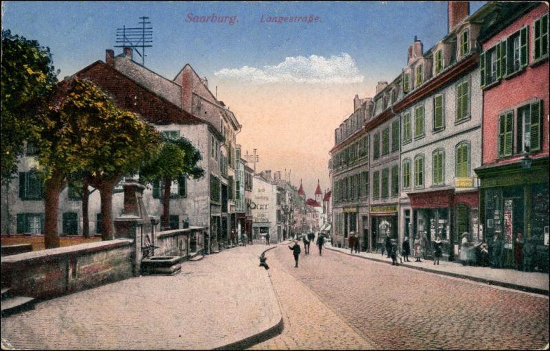 Ansichtskarte Saarburg Langestraße 1914