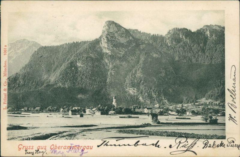 Ansichtskarte Oberammergau Blick auf die Stadt 1908