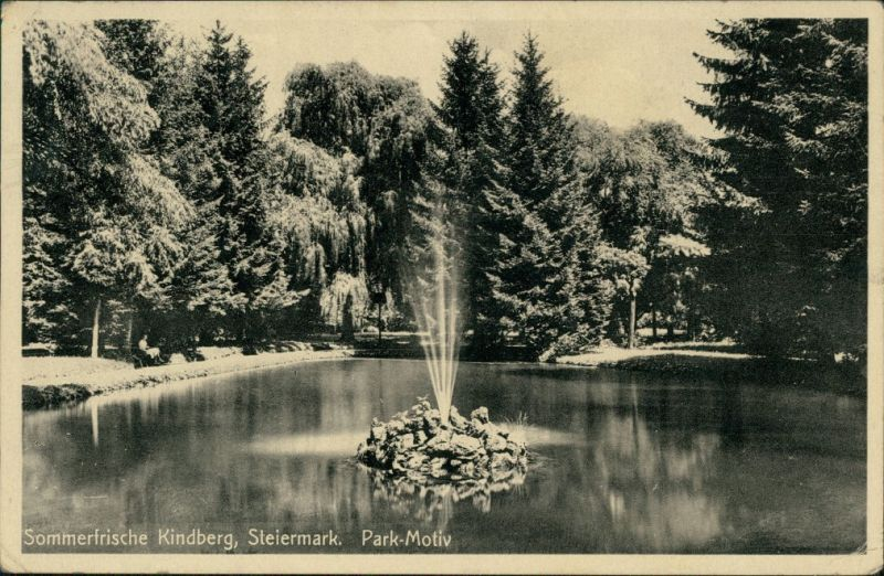 Ansichtskarte Kindberg Parkpartie Fontaine 1943