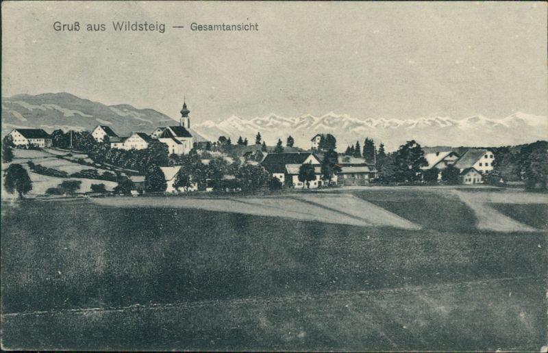 Ansichtskarte Wildsteig Blick auf die Stadt 1923