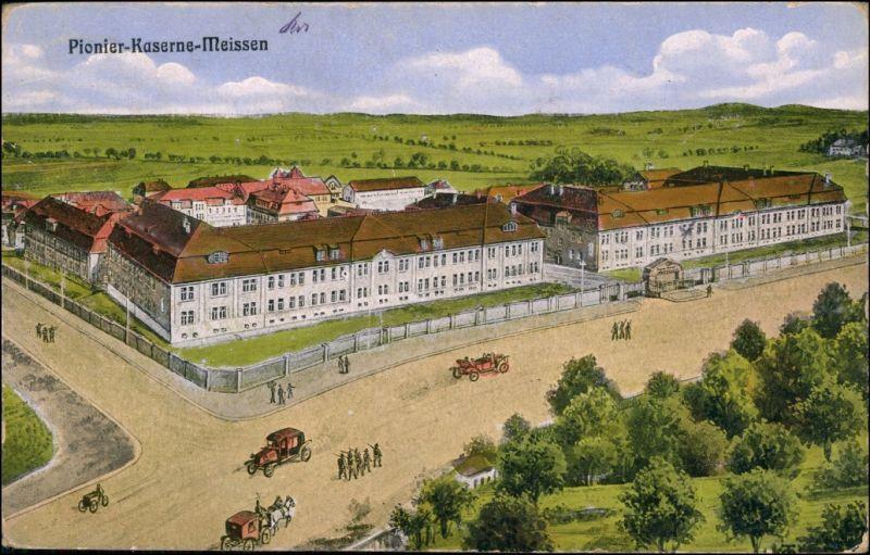 Ansichtskarte Meißen Künstlerkarte: Pionierkaserne 1920