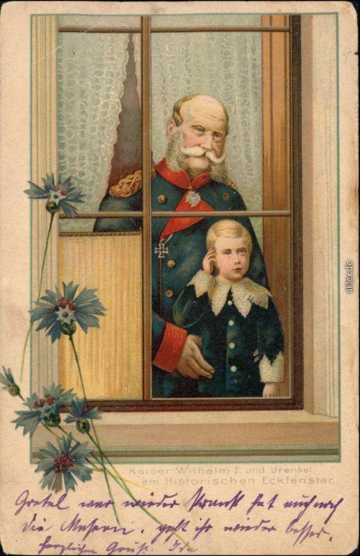 Ansichtskarte  Künstlerkarte: Kaiser Wilhelm und Enkel am Fenster 1911