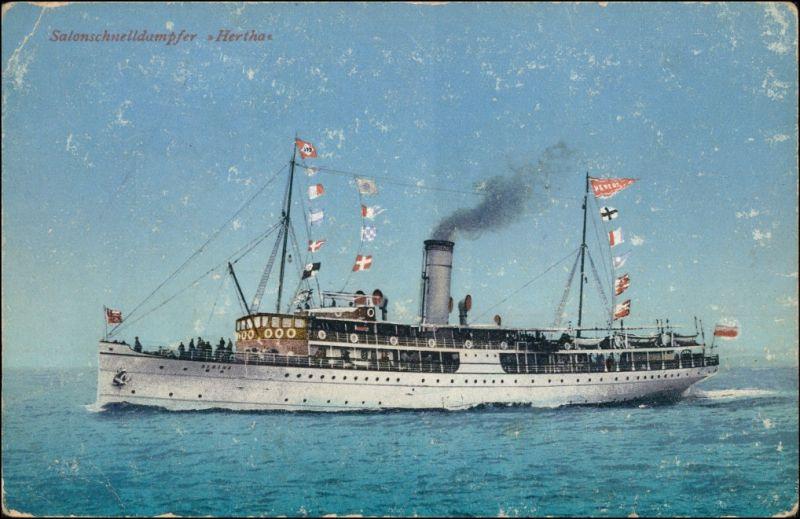 Ansichtskarte  Salonschnelldampfer Hertha 1914