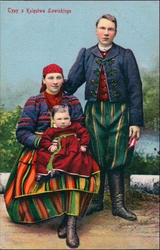 Postcard Polen (Allgemein) Vater, Mutter u. Kind - Typen Lowicz 1916
