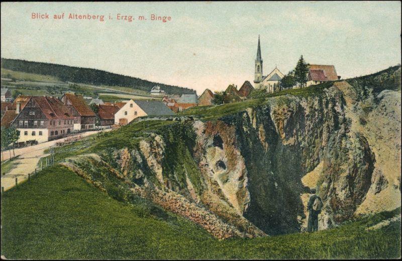 Ansichtskarte Altenberg (Erzgebirge) Blick auf die Stadt mit Binge 1908
