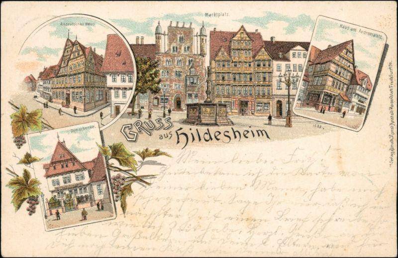 Ansichtskarte Hildesheim Litho AK: Marktplatz, Andreasplatz, Domschänke 1900