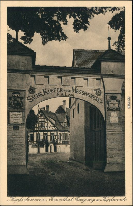 Kupferhammer-Grünthal-Olbernhau Straße - Eingang Kupferhammer Grüntal 1919