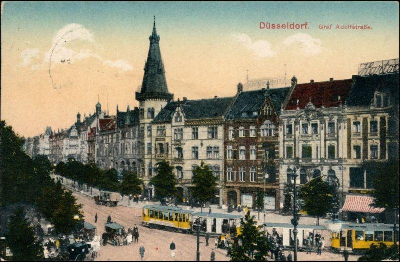 Ansichtskarte Düsseldorf Graf Adolfstraße - Straßenbahn 1916