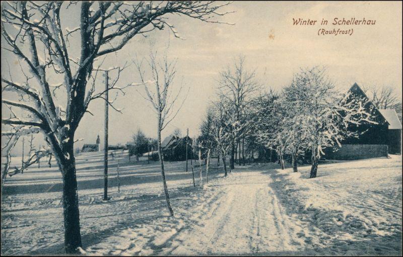 Schellerhau-Altenberg (Erzgebirge) Straßenpartie im Winter 1913