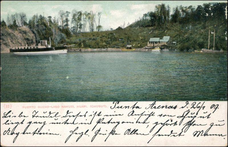 Chubut allgemein Dampfer Puerto Bueno Lago Chubut Patagonien 1909