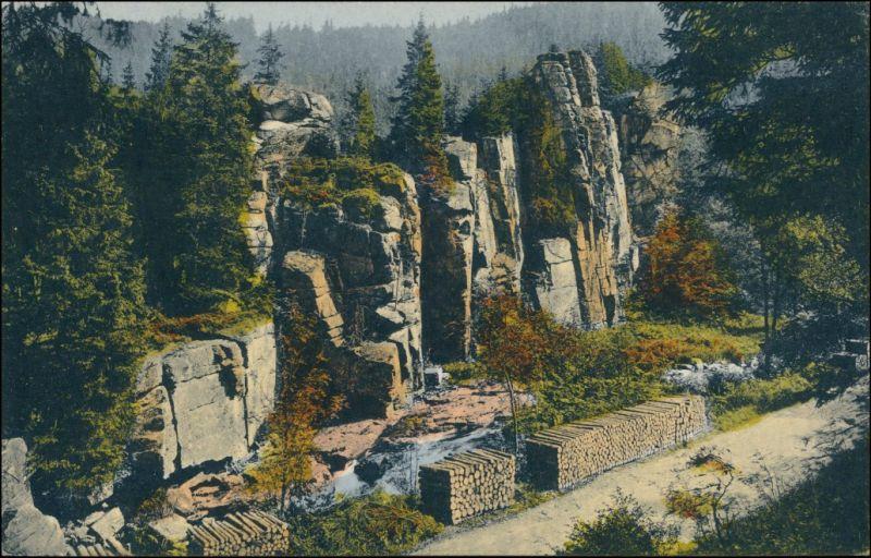 Ansichtskarte Zöblitz Holzstabel, Schwarzwassergrund Teufelsmauer 1909