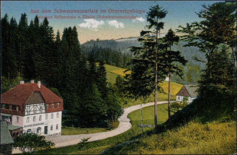 Ansichtskarte Zöblitz Restauration Schwarzwassertal 1913