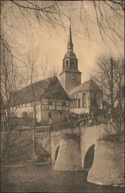 Oberbobritzsch-Hilbersdorf (Muldental) Straße, Brücke - Kirche 1912