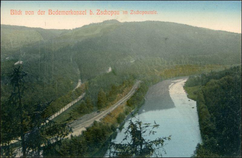 Ansichtskarte Zschopau Blick von der Bodemerkanzel - Zschopautal 1911