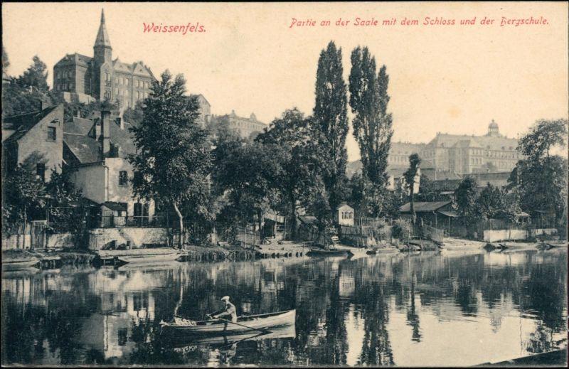 Ansichtskarte Weißenfels Partie an der Saale mit Schloß und Bergschule 1913