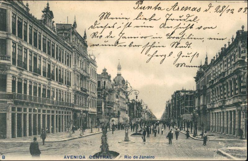 Postcard Rio de Janeiro Avenida Central 1909