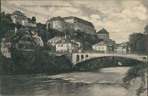 Ansichtskarte Tübingen Stadt, Schloß und Alleenbrücke 1914
