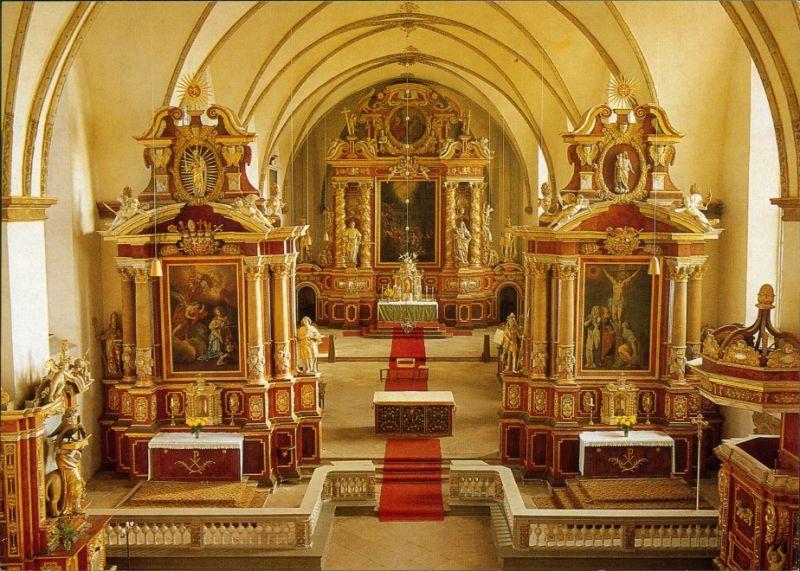 Höxter (Weser) Schloß Corvey - ehem. Reichsabtei, Hauptaltar der Kirche 1990
