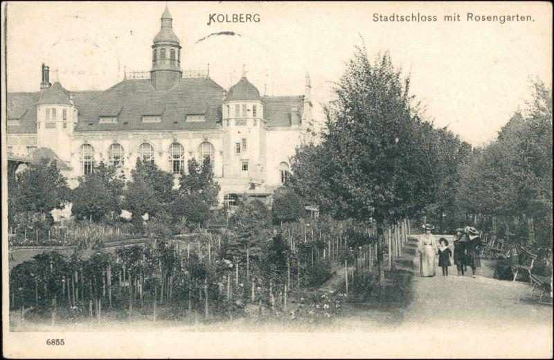 Postcard Kolberg Kołobrzeg Strandschloss mit Rosengarten 1906