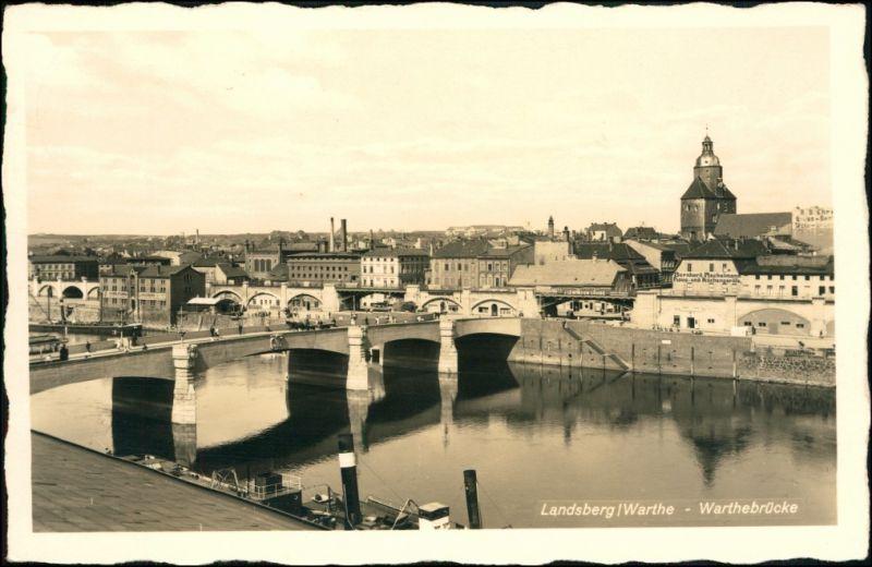 Landsberg (Warthe) Gorzów Wielkopolski Stadt, Brücke, Fabriken und Dampfer 1937