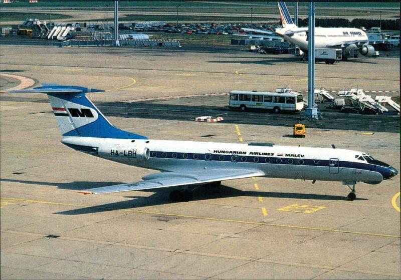 Ansichtskarte Orly Flugzeug: MALEV TU.134 (HA-LBH) Paris Orly 1990
