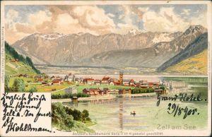 Zell am See Künstlerkarte - Blick auf die Stadt (Strützel) 1905