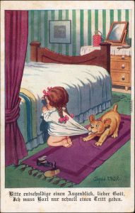 Ansichtskarte  Kleines Mädchen beim beten - Hund Künstlerkarte Donald 1927