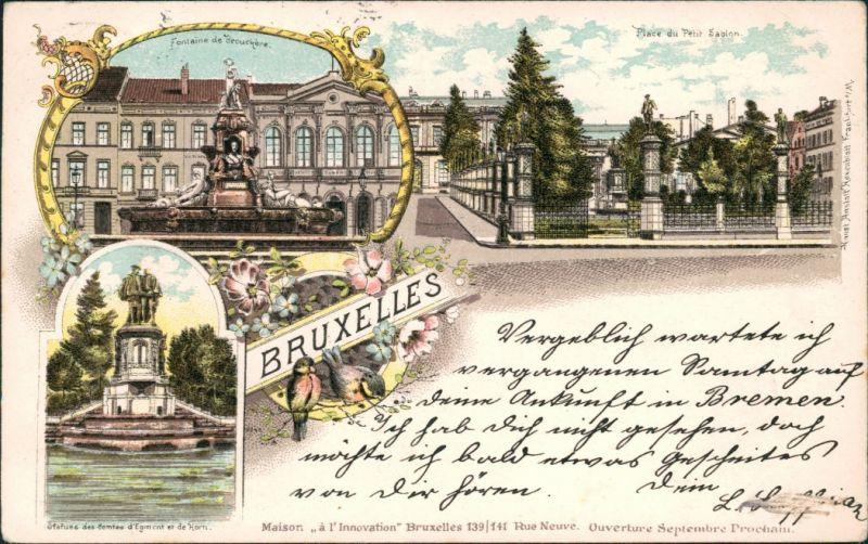 Postkaart Brüssel Bruxelles Litho AK: Brunnen, Place de Petit 1898